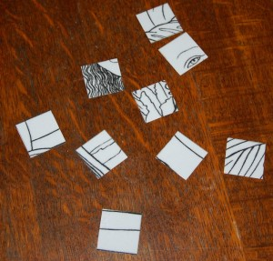 there were 3 categories of  1 inch x 1 inch squares: easy, medium and difficult.