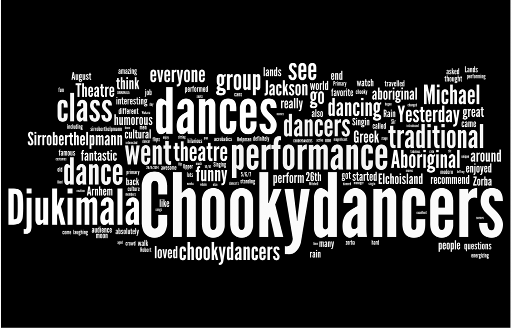 a Wordle generated from the students' reviews of the Djuki Mala performance