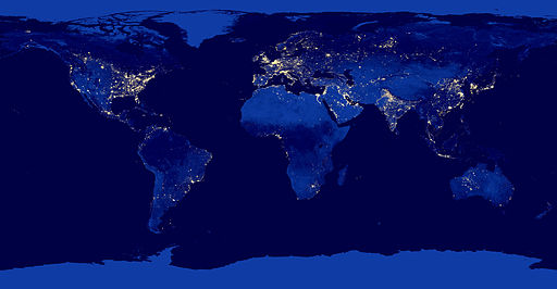 The Earth At Night. By NASA Earth Observatory (NASA Earth Observatory) [Public domain], via Wikimedia Commons