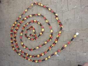 Our very long paper-chain: we had to shape it into a spiral to fit it in the picture!