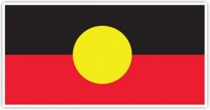 The Australian Aboriginal Flag: black represents the People, red represent the Earth and yellow represents the Sun.